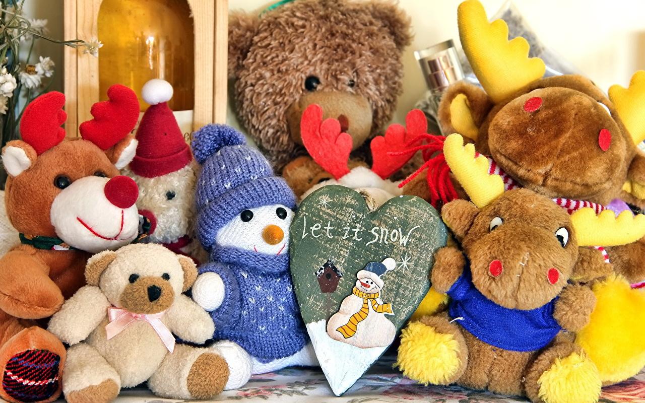 Картинки Снеговики Плюшевый мишка Игрушки Мишки снеговик снеговика игрушка
