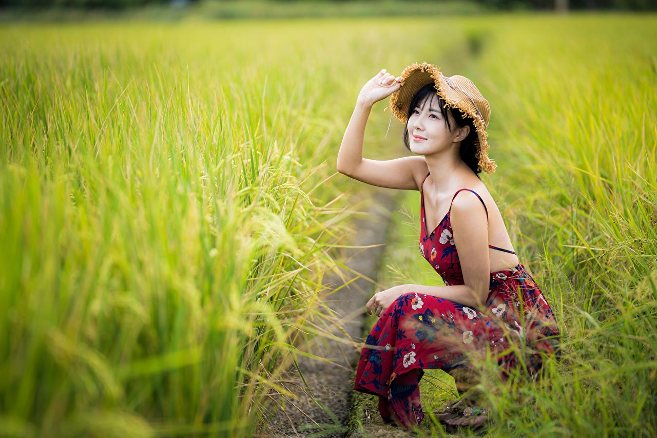Фотография улыбается боке Шляпа молодые женщины Поля азиатка Руки сидящие Платье Улыбка Размытый фон шляпы шляпе девушка Девушки молодая женщина Азиаты азиатки рука сидя Сидит платья