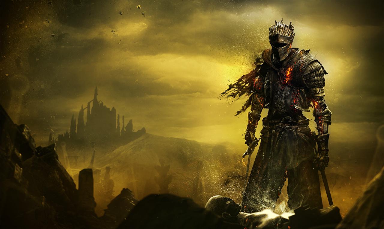 Фотографии Dark Souls 3 Мечи броня Рыцарь Фэнтези Игры Dark Souls III Доспехи Фантастика