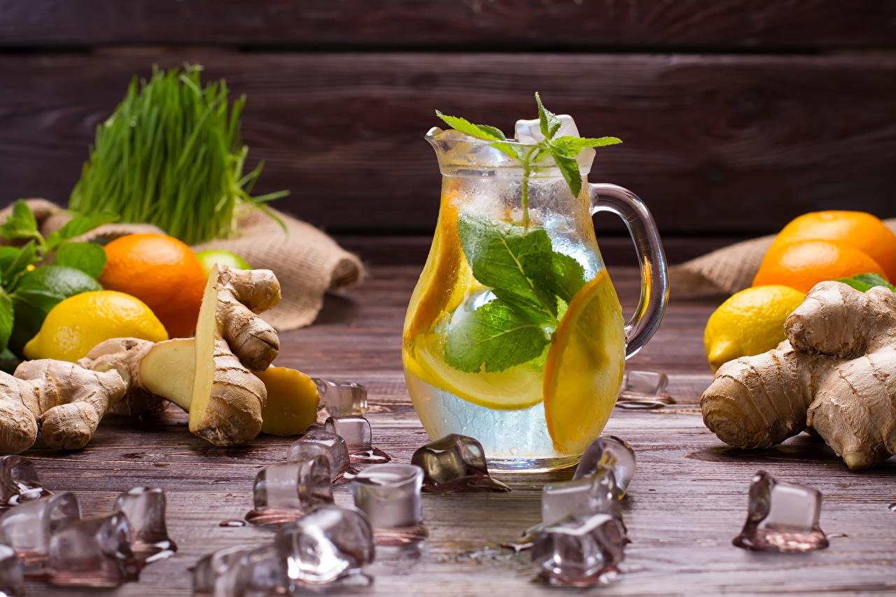 Фото Лед Лимонад Кувшин Лимоны Продукты питания Напитки льда кувшины Еда Пища напиток