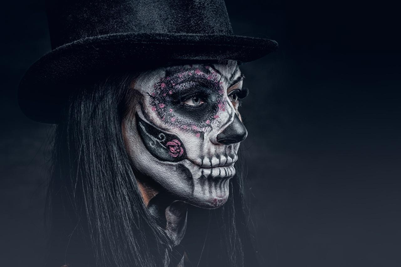 Фото Макияж day of the dead Лицо Шляпа Девушки Праздники Черный фон мейкап