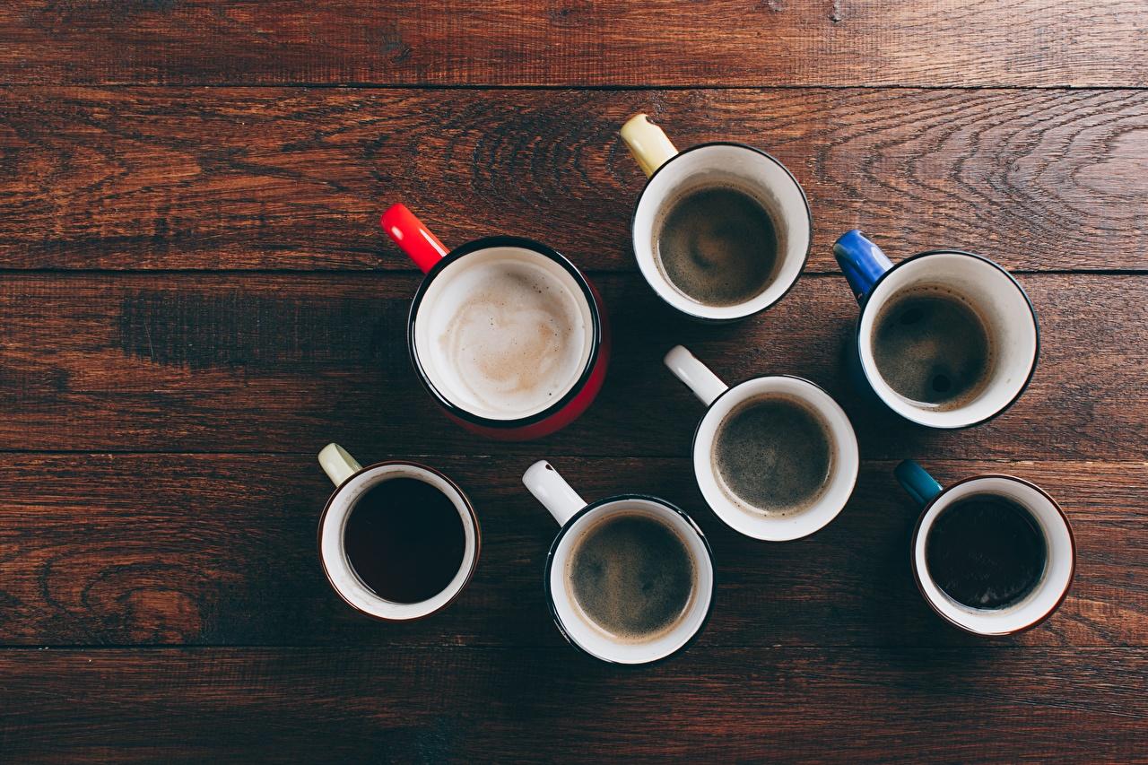 Фото Кофе Еда Сверху Кружка Много Доски Пища кружки кружке Продукты питания