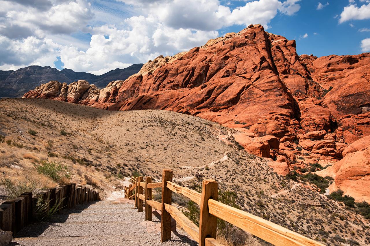 Фотографии США Red Rock Canyon, Nevada Горы скале Природа облако штаты америка гора Утес Скала скалы Облака облачно