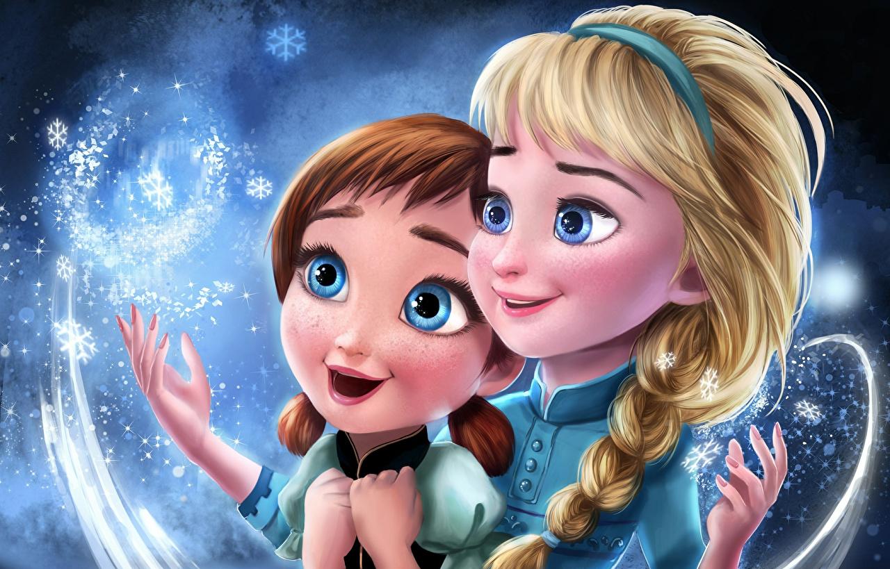 Фотография Холодное сердце косички Anna, Elsa Девушки Мультики Рисованные косы Коса мультик девушка Мультфильмы молодые женщины молодая женщина