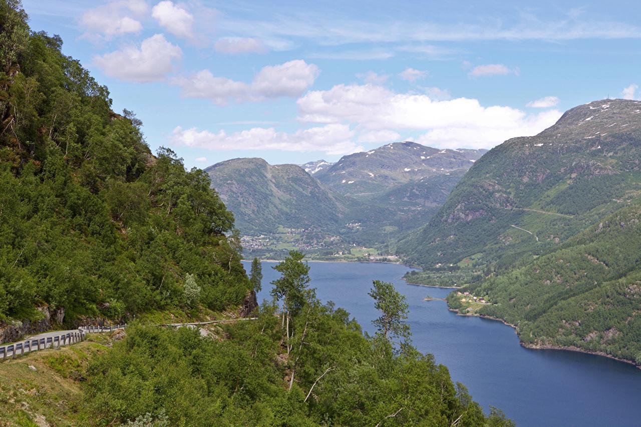 Фото Норвегия Горы Природа Леса Реки речка