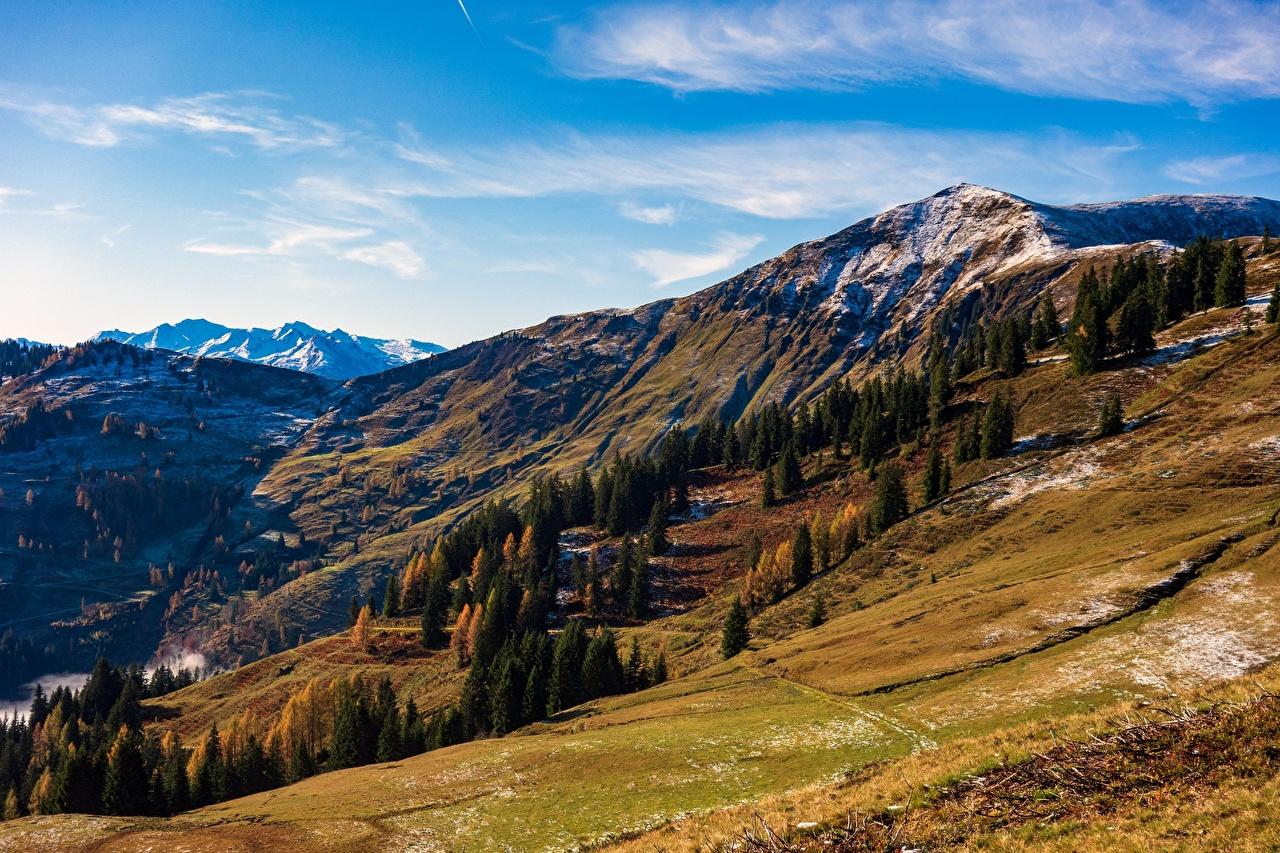 Картинки Австрия Hochkönig, Dienten Горы Природа осенние Небо деревьев гора Осень дерево дерева Деревья