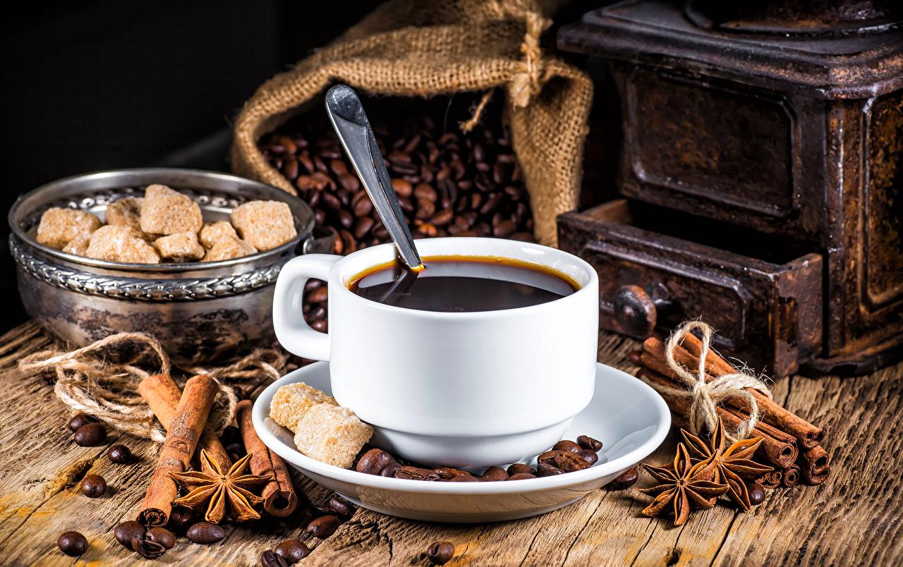 Картинки Кофе Сахар Бадьян звезда аниса Зерна Корица Еда чашке сахара зерно Пища Чашка Продукты питания