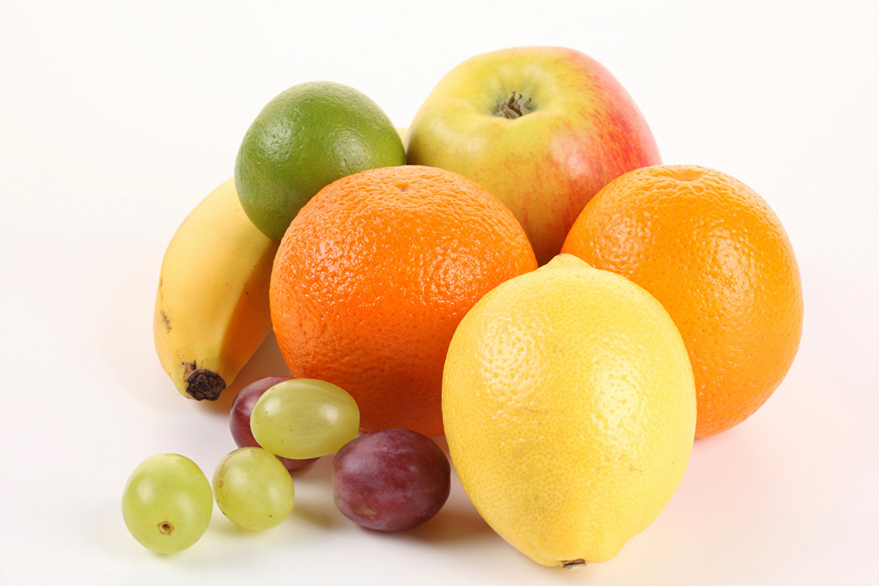 Картинка Апельсин Лимоны Виноград Пища Фрукты Белый фон Еда Продукты питания