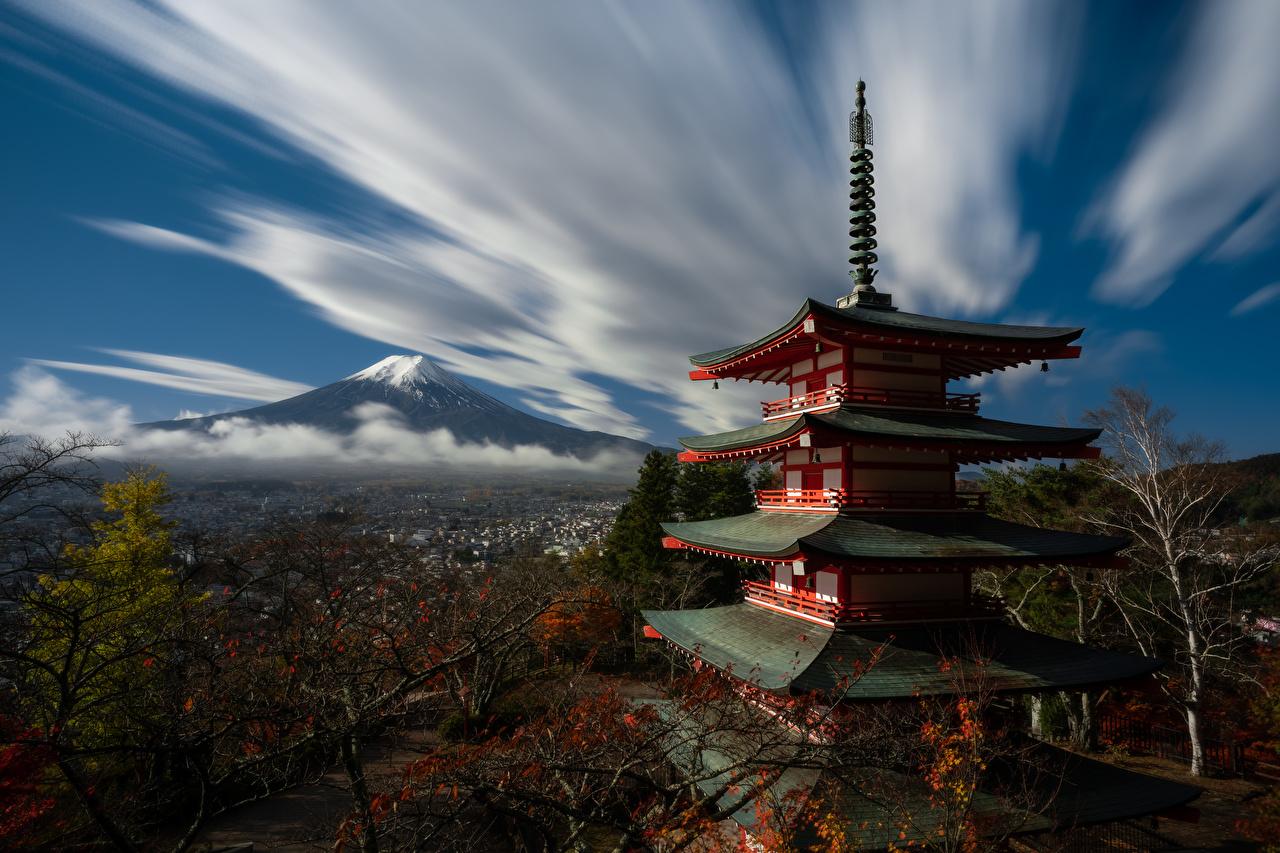 Фото Фудзияма Япония Горы Природа Пагоды Облака гора облако облачно