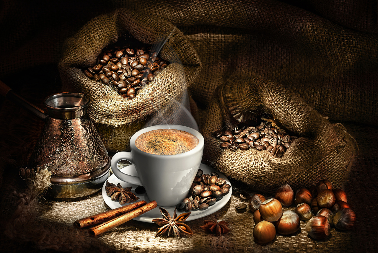 Фотографии Продукты питания Кофе Бадьян звезда аниса Зерна Корица Турка Чашка Орехи Еда Пища зерно чашке