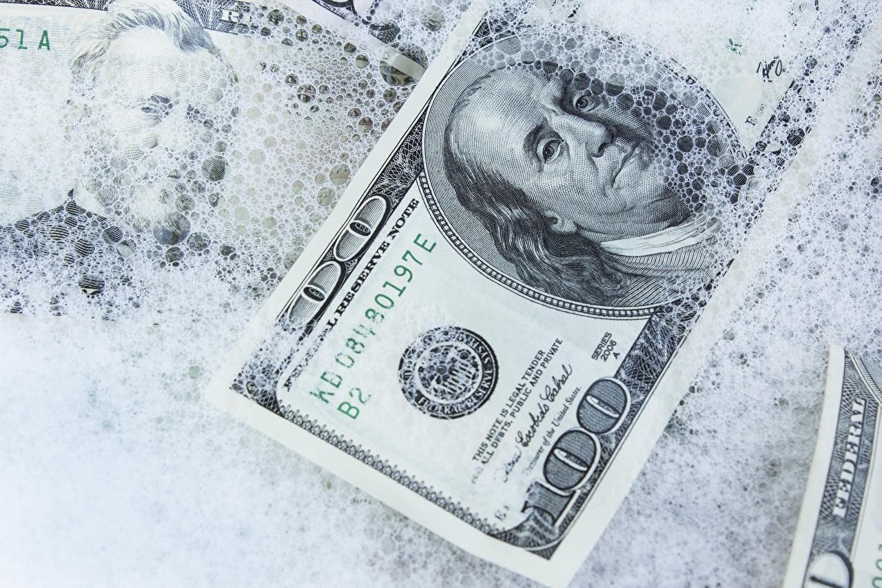 Обои Доллары 100 Снег Деньги Крупным планом вблизи