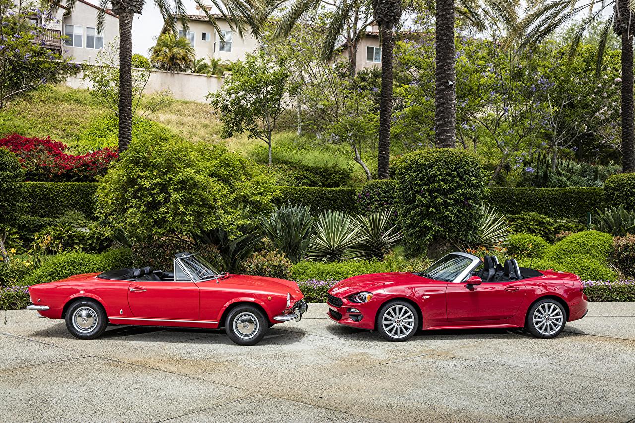 Фотографии Фиат 1966—1982 Fiat 124 кабриолета Двое Винтаж Красный Металлик автомобиль Кабриолет 2 два две Ретро вдвоем красных красные красная старинные авто машина машины Автомобили