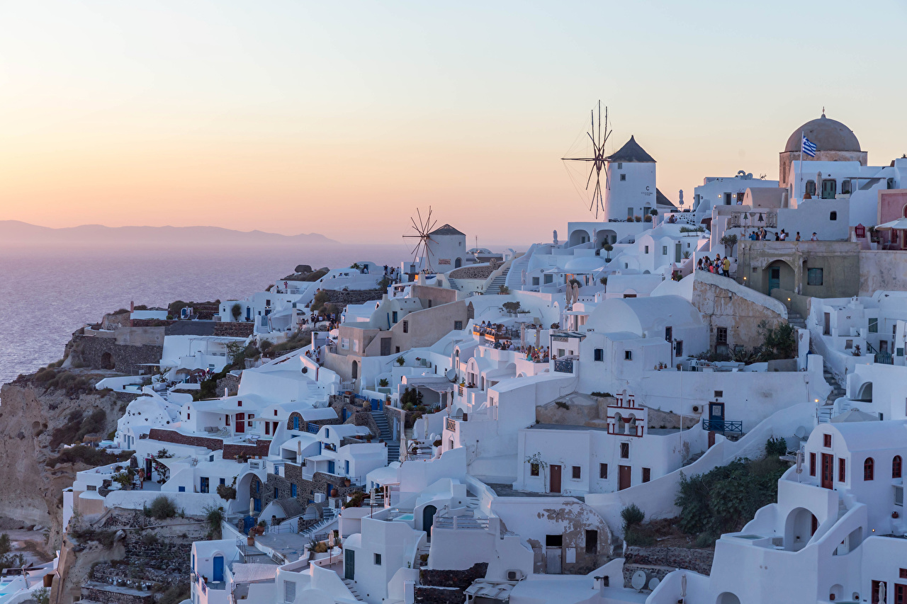 Обои для рабочего стола Тира Греция Рассветы и закаты Дома город Фира Санторини рассвет и закат Здания Города