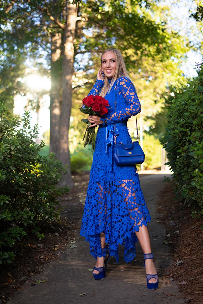 Картинка Olga Clevenger блондинки платья девушка Букеты роза улыбается  для мобильного телефона Блондинка блондинок Платье Девушки молодая женщина молодые женщины букет Розы Улыбка