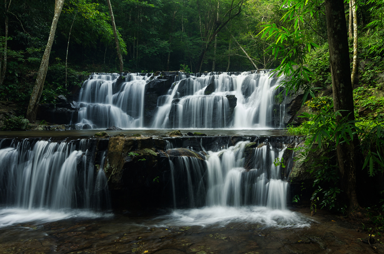 Фотографии Таиланд Sam lan waterfall Скала Природа Водопады лес Парки Утес скале скалы парк Леса