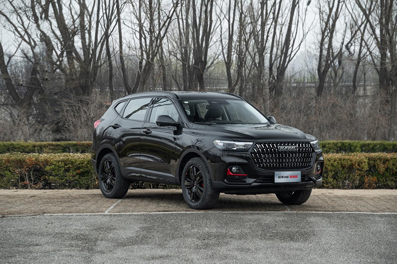 Фотографии Haval Китайские CUV H6 GT, 2021 Черный машины Металлик китайский китайская Кроссовер черная черные черных авто машина Автомобили автомобиль