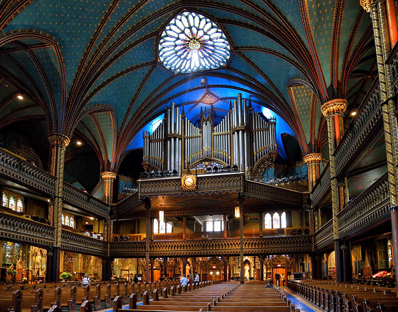 Обои для рабочего стола Канада Notre-Dame Basilica Montreal Интерьер храм город Храмы Города