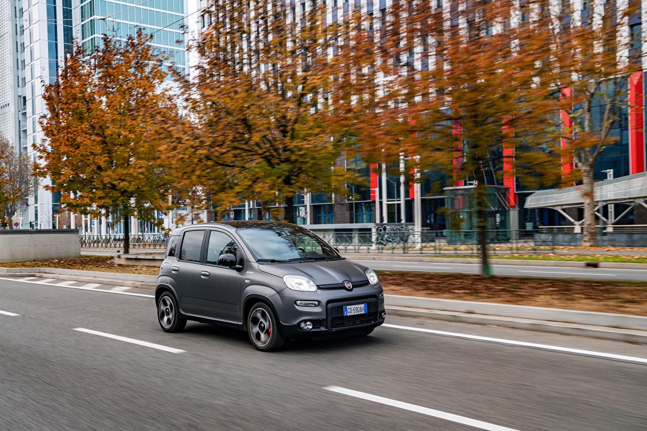 Фото Fiat Panda Sport Hybrid, (319), 2020 Гибридный автомобиль серые скорость авто Асфальт Фиат серая Серый едет едущий едущая Движение машины машина асфальта Автомобили автомобиль