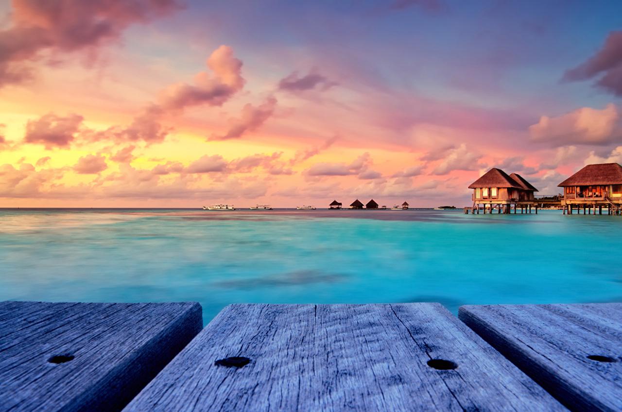 Обои Мальдивы Бунгало Природа Тропики Рассветы и закаты Доски
