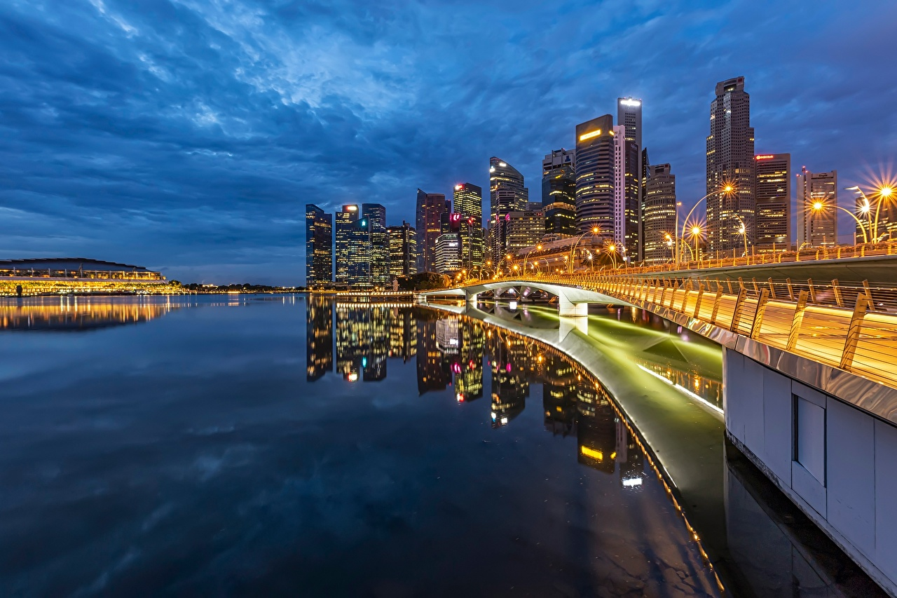 Картинки Сингапур Мосты Залив Вечер Побережье город Здания мост берег заливы залива Дома Города