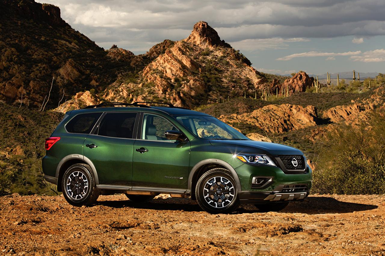 Картинка Ниссан Универсал 2019 Pathfinder Rock Creek зеленая авто Nissan зеленых зеленые Зеленый машина машины автомобиль Автомобили