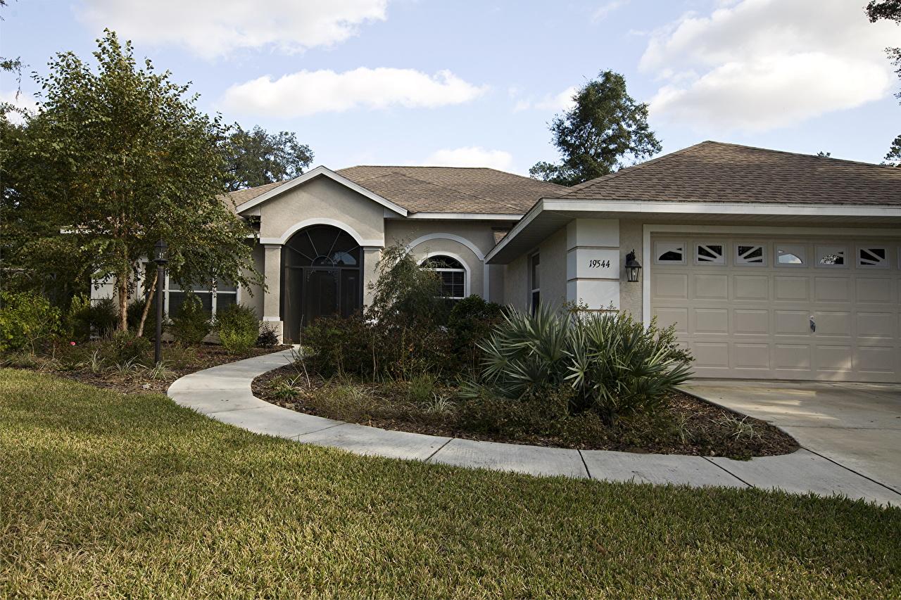 Картинка Флорида Бунгало траве Дома город Трава Здания Города