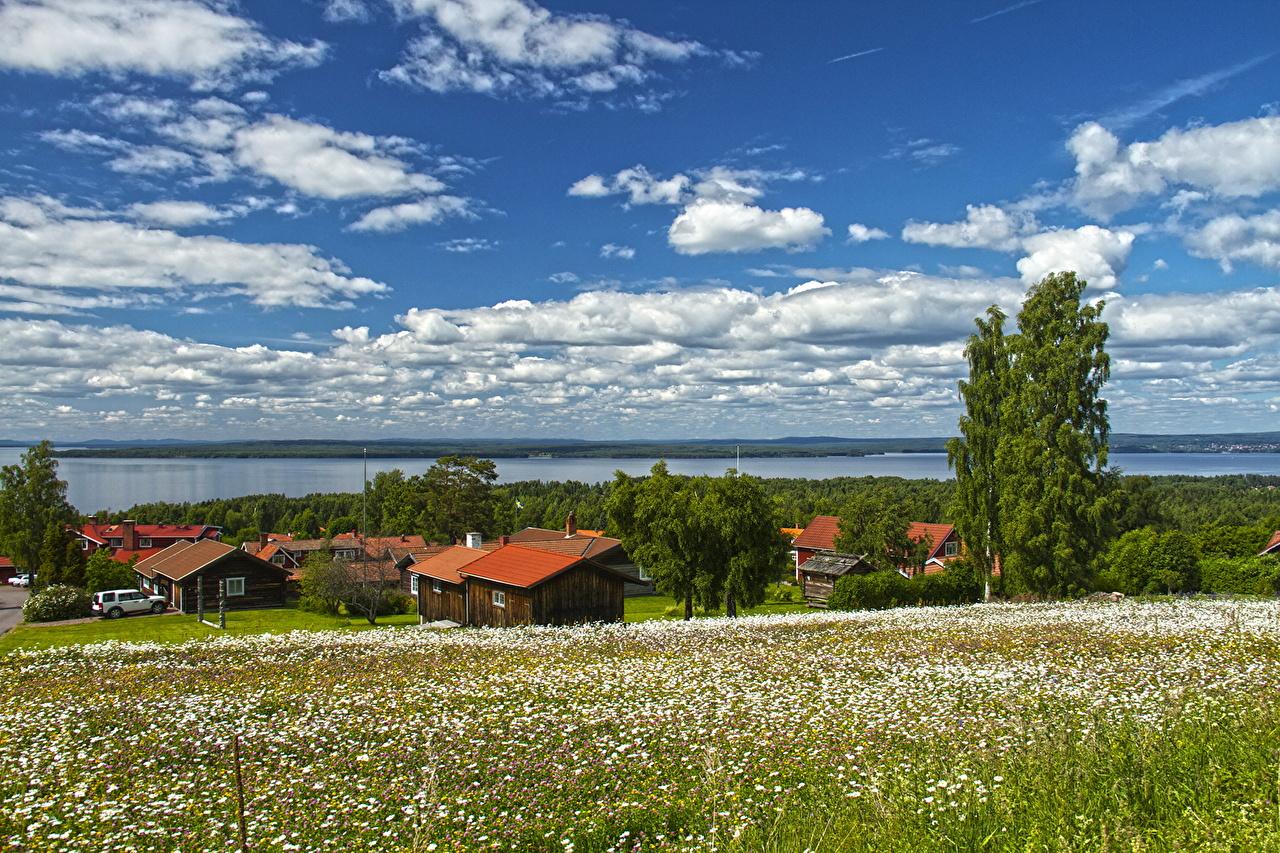 Обои для рабочего стола Швеция поселок Dalarna Небо Луга Трава Горизонт город облако село Деревня траве горизонта Города Облака облачно
