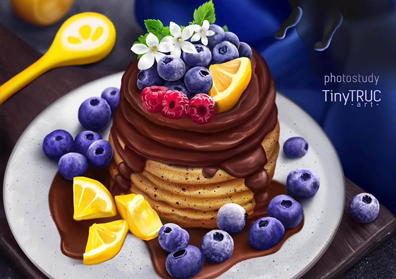 Обои для рабочего стола tiny-truc Шоколад Блины Черника Еда Ягоды Пища Продукты питания