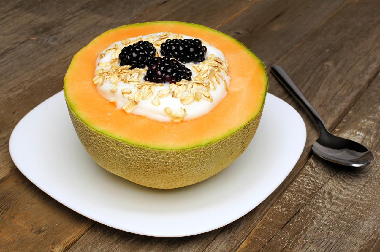 Картинка Йогурт Завтрак Дыни Ежевика Пища Еда Продукты питания