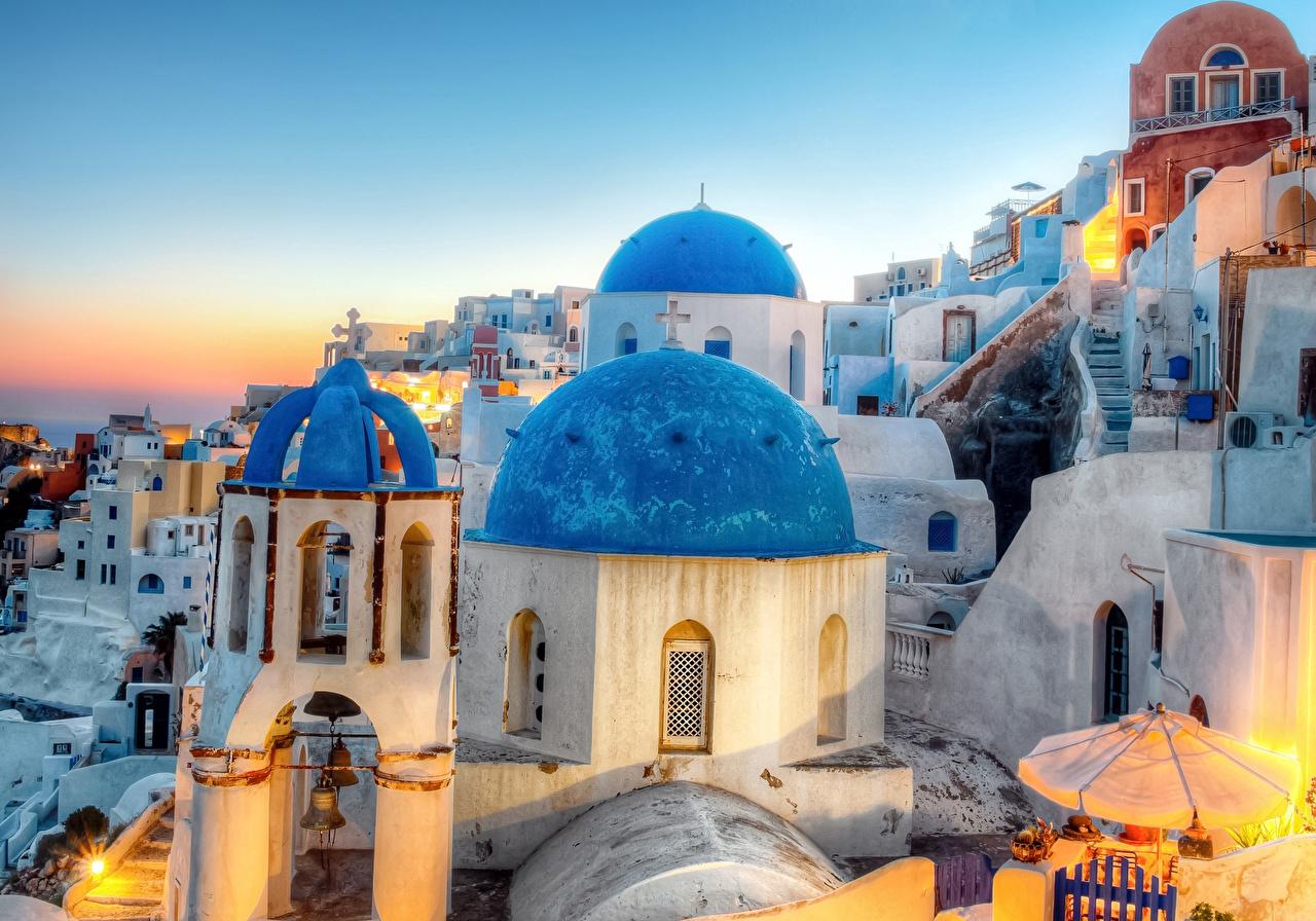 Фотография Санторини Греция Oia HDRI храм Дома город Тира Фира HDR Храмы Здания Города