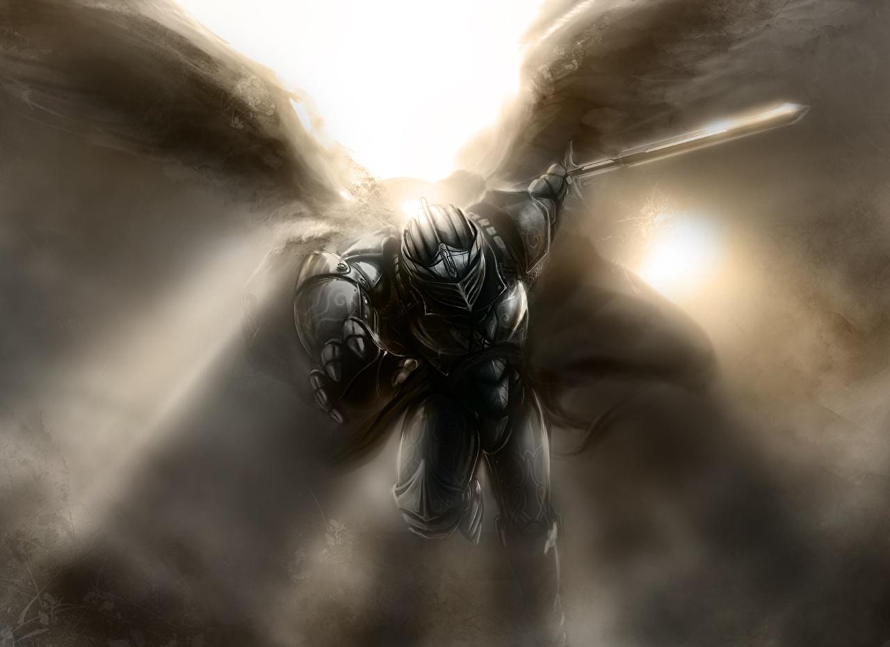 Фотографии меча Доспехи шлема Крылья Фантастика Ангелы меч Мечи броня броне с мечом доспехе доспехах Шлем в шлеме Фэнтези ангел