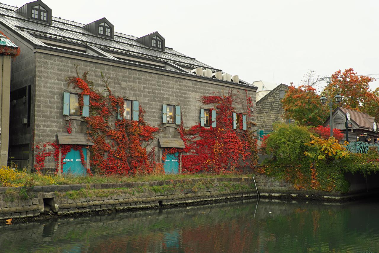 Картинка Япония Otaru Hokkaido Водный канал Дома Города город Здания