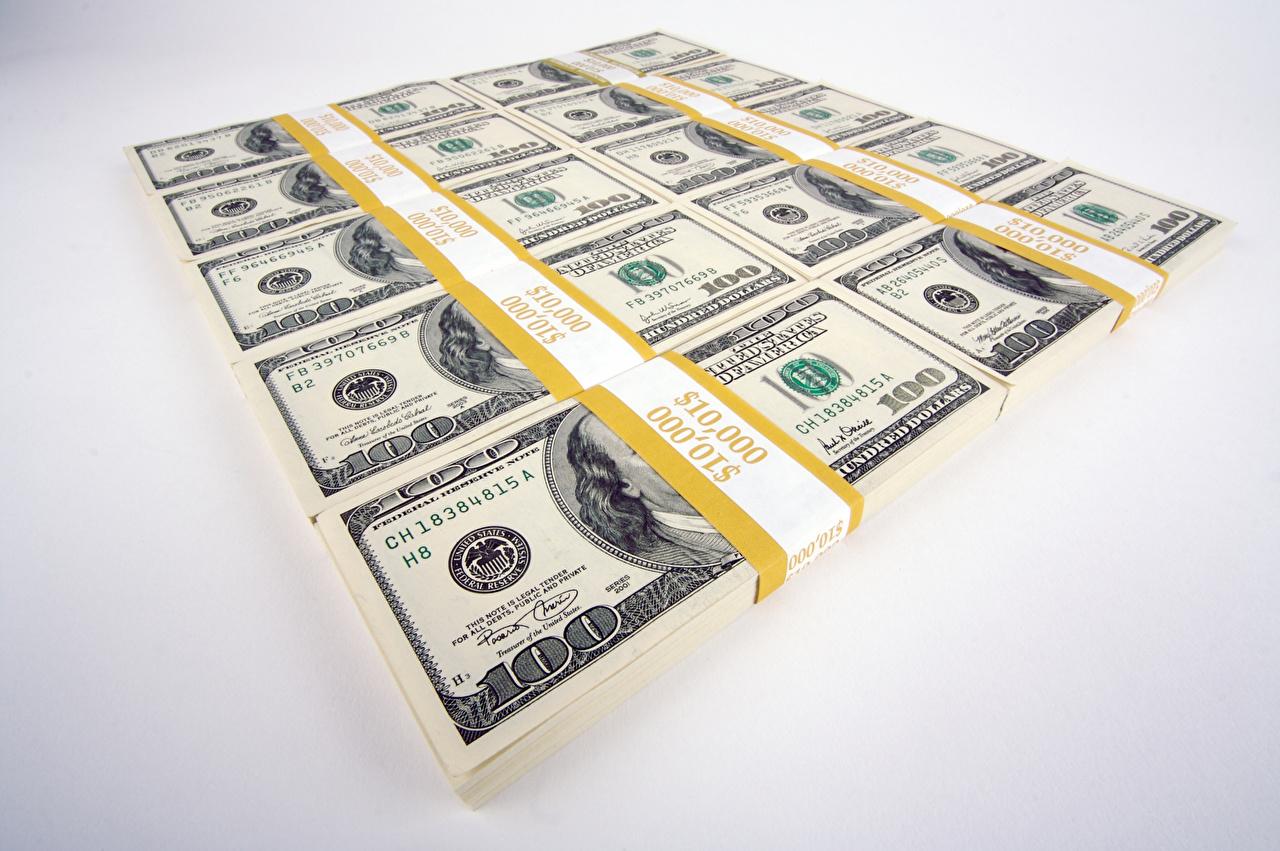 Фотографии Купюры Доллары Деньги Серый фон Банкноты
