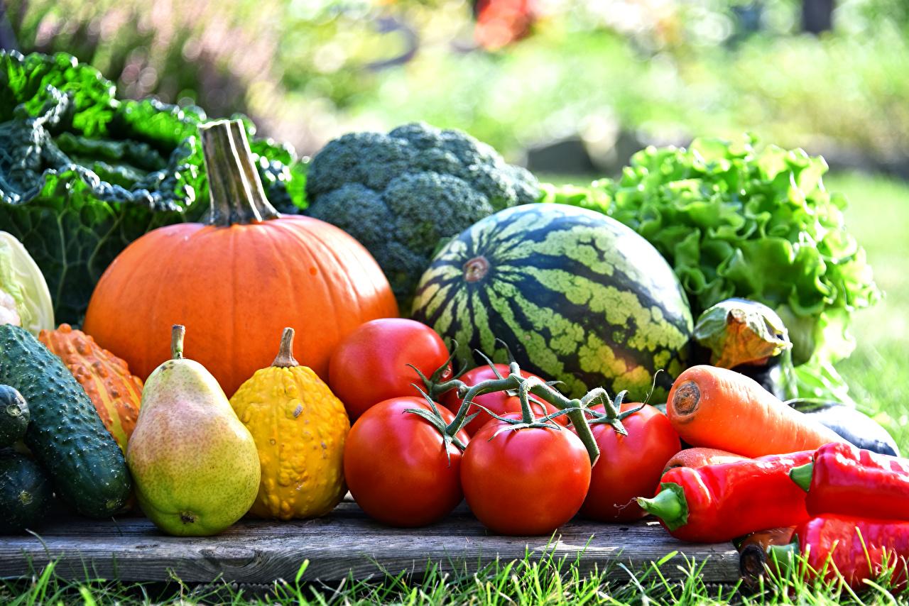 Обои для рабочего стола Тыква Помидоры Груши Арбузы Овощи Перец Продукты питания Томаты Еда Пища перец овощной