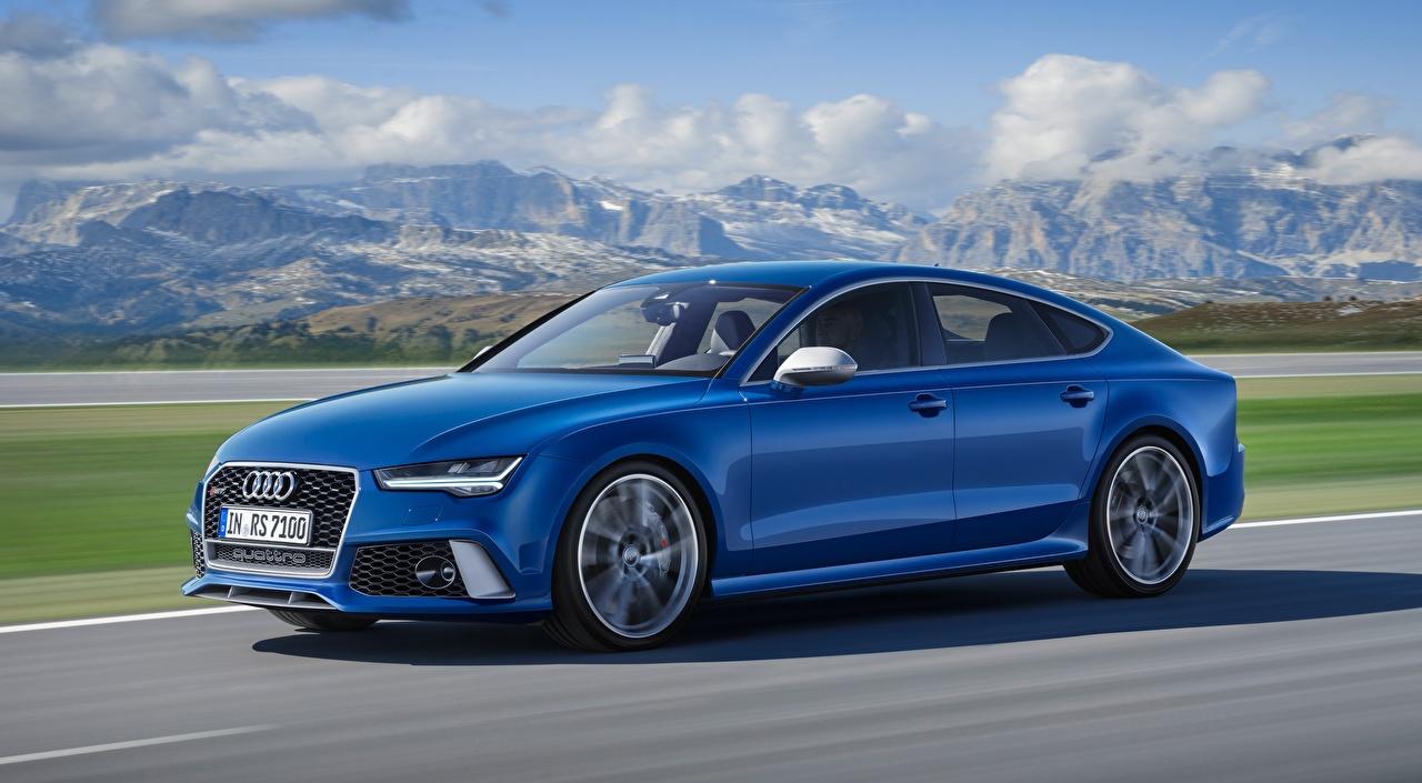 Картинки Audi Размытый фон Синий скорость Сбоку Автомобили Ауди боке синяя синие синих едет едущий едущая Движение авто машины машина автомобиль
