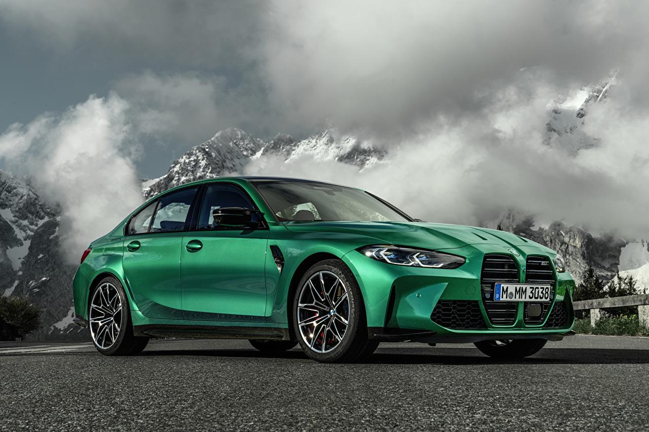 Фотографии БМВ M3 Competition, (G80), 2020 Зеленый Металлик Автомобили BMW зеленая зеленые зеленых авто машины машина автомобиль