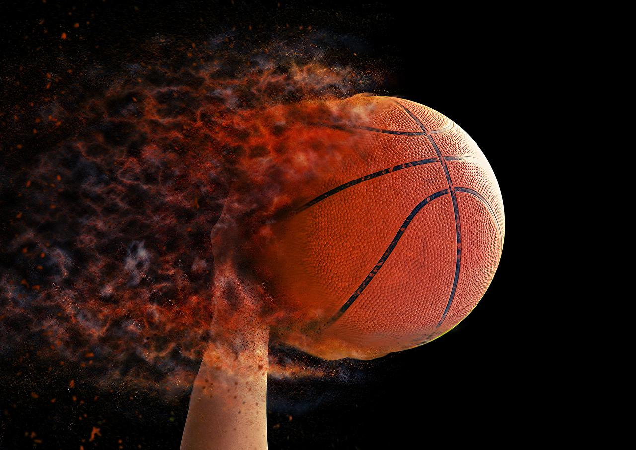 Картинки Спорт Баскетбол Пламя Мячик Черный фон Огонь Мяч на черном фоне