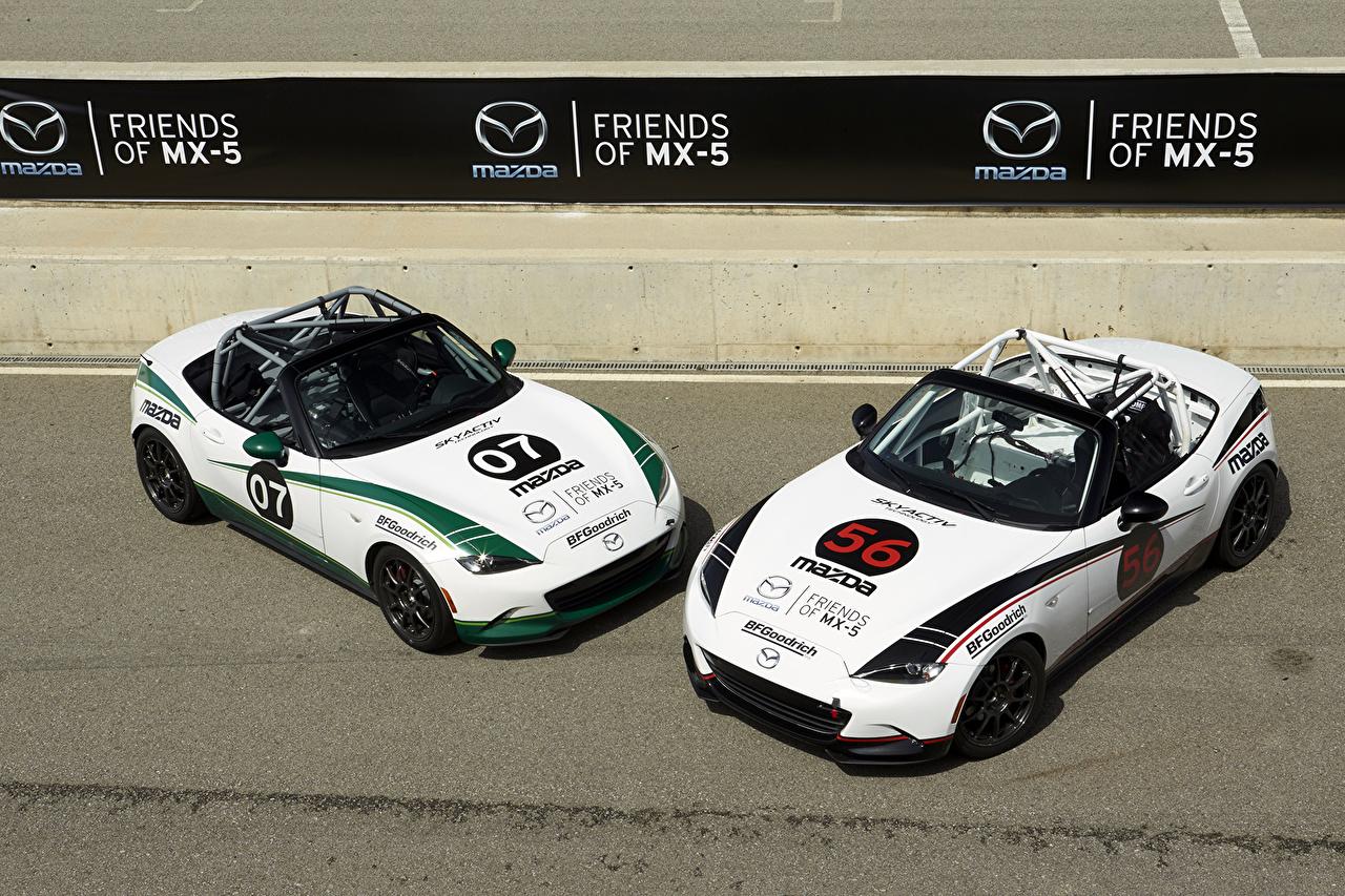 Картинка Mazda Тюнинг 2015-16 MX-5 Cup 2 Белый Автомобили Мазда Стайлинг два две Двое белых белые белая вдвоем авто машина машины автомобиль