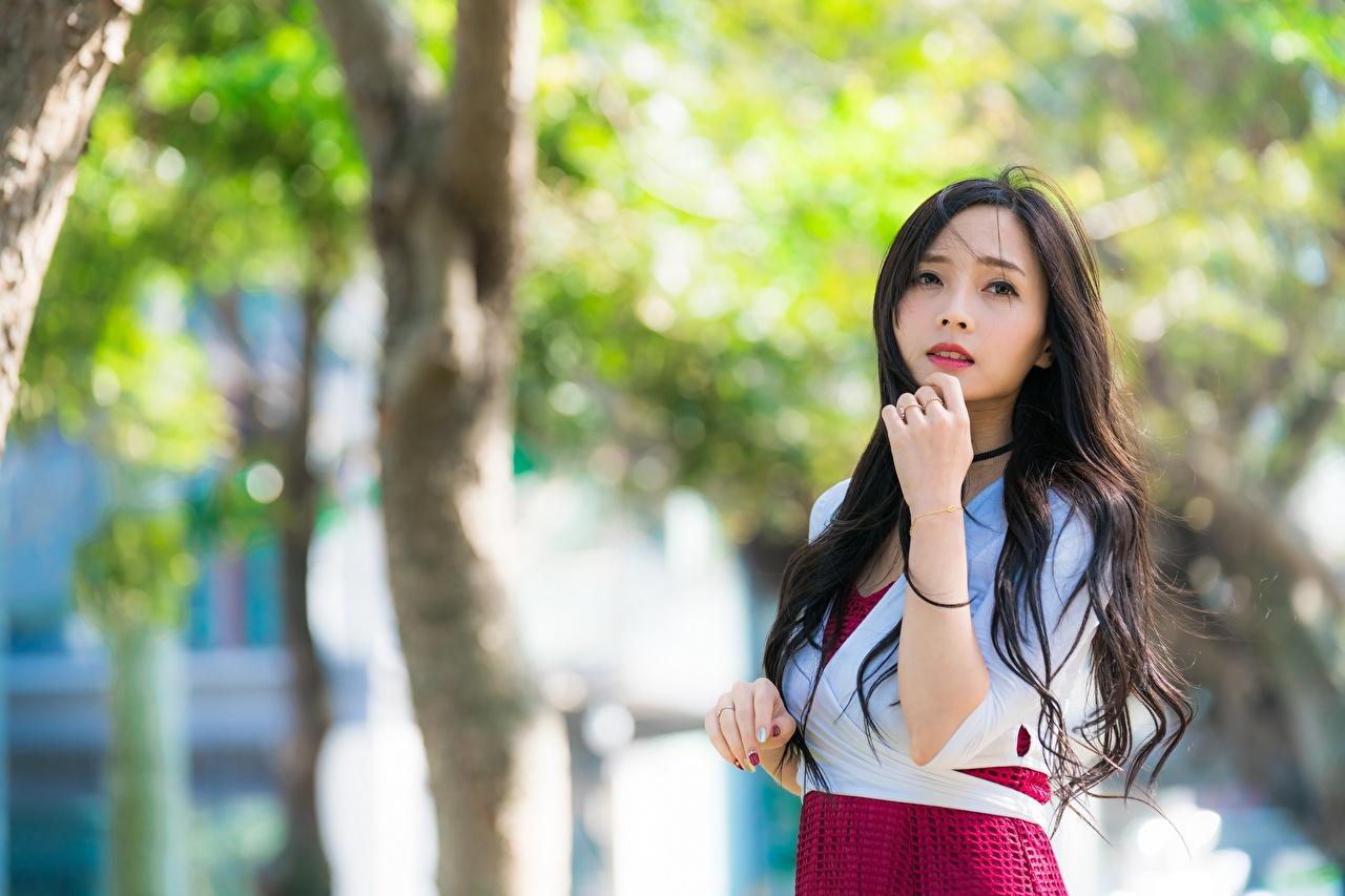 Фотографии брюнеток Размытый фон молодые женщины Азиаты рука смотрит брюнетки Брюнетка боке девушка Девушки молодая женщина азиатки азиатка Руки Взгляд смотрят