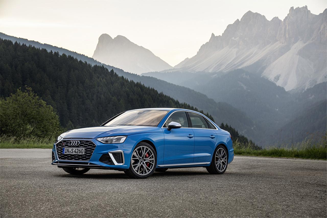 Картинки Audi 2019 S4 Sedan TDI Worldwide (B9) голубых авто Металлик Ауди Голубой голубые голубая машина машины автомобиль Автомобили