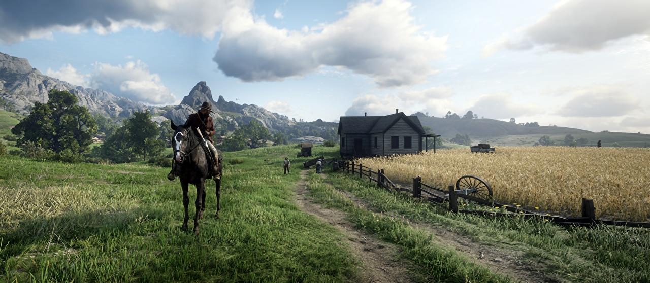 Фотография Red Dead Redemption 2 Лошади мужчина 3д Природа Игры Поля Трава Дома лошадь Мужчины 3D Графика компьютерная игра траве Здания