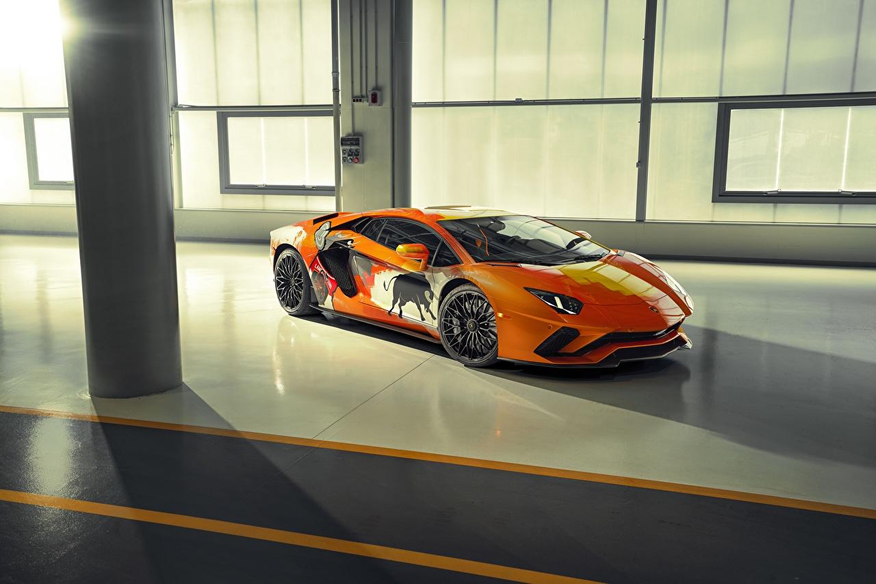 Фото Тюнинг Ламборгини Aventador S Skyler Grey Оранжевый авто Lamborghini Стайлинг оранжевых оранжевые оранжевая машина машины автомобиль Автомобили