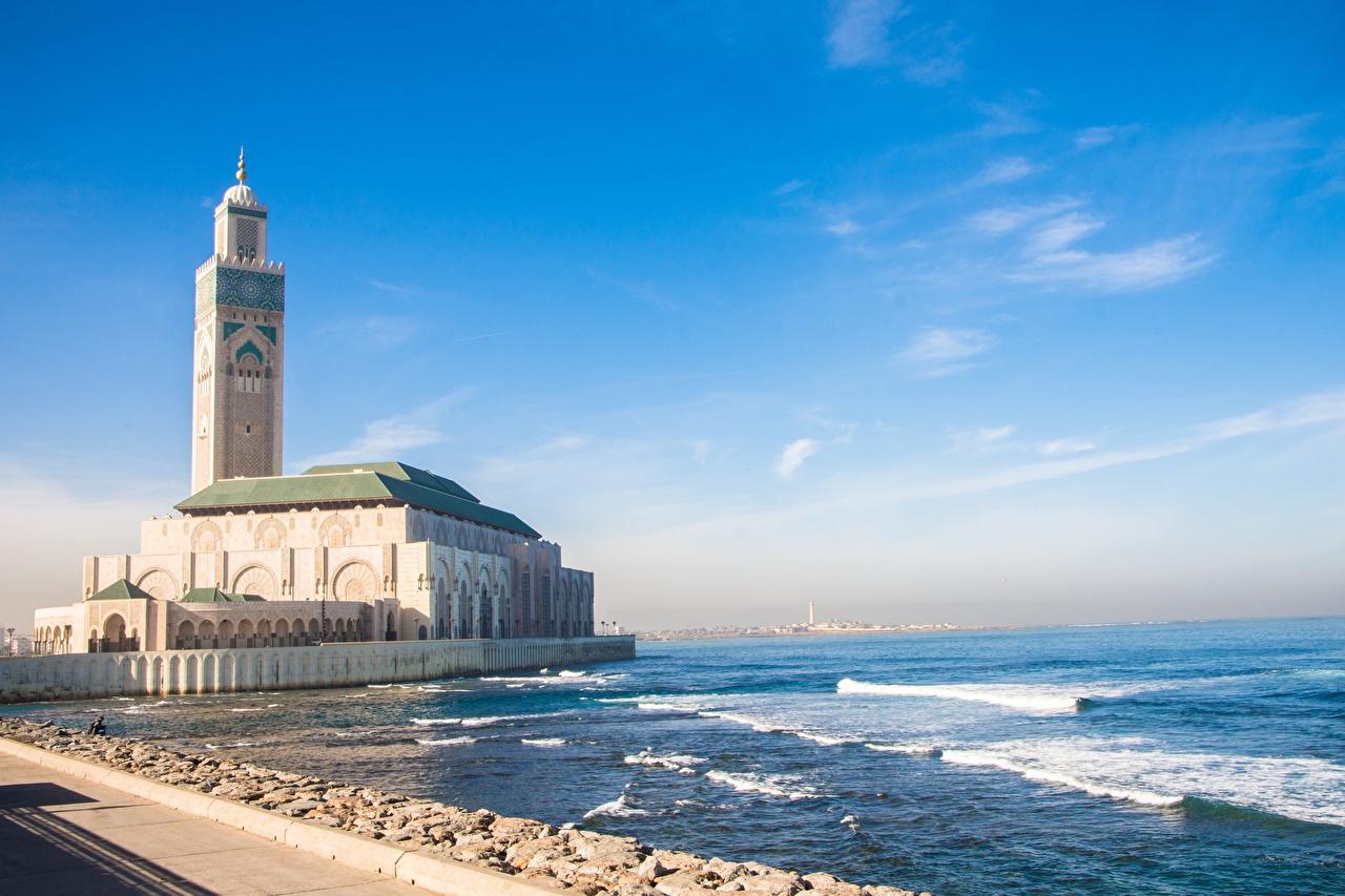 Обои для рабочего стола Мечеть Марокко Башня Casablanca, Mesquita de Hassan II Океан Побережье Города