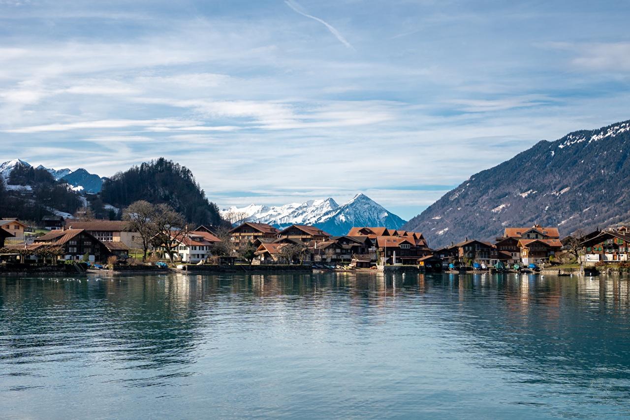 Фотография Швейцария Iseltwald, Canton Bern, Lake Brienz Горы Озеро Здания Города гора Дома город
