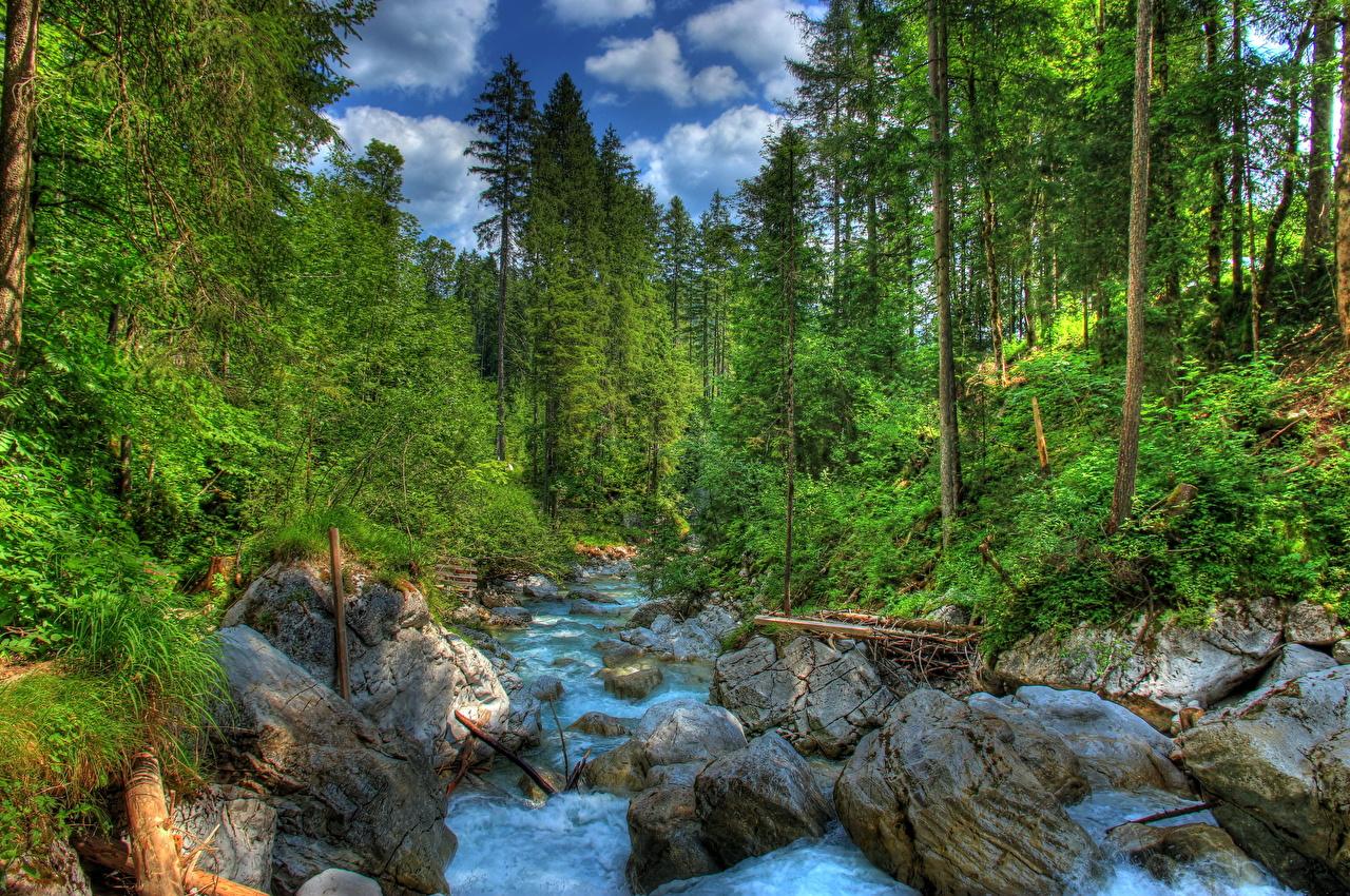 Картинка Бавария Германия Ramsau HDR Природа лес Пейзаж Реки Камни HDRI Леса река речка Камень