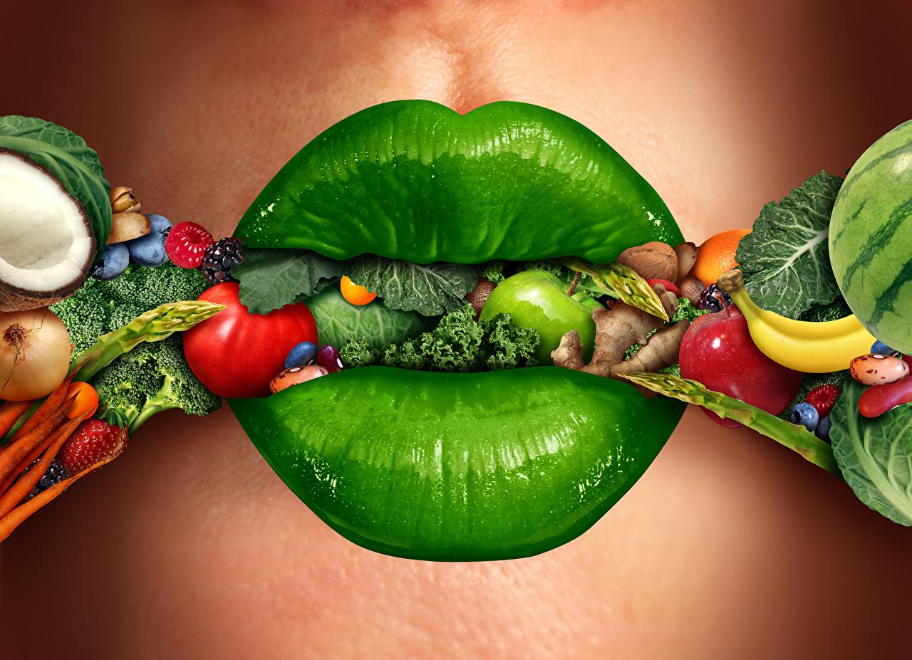 Обои для рабочего стола Зеленый Губы Креатив Овощи Фрукты Продукты питания зеленых зеленые зеленая креативные оригинальные Еда Пища