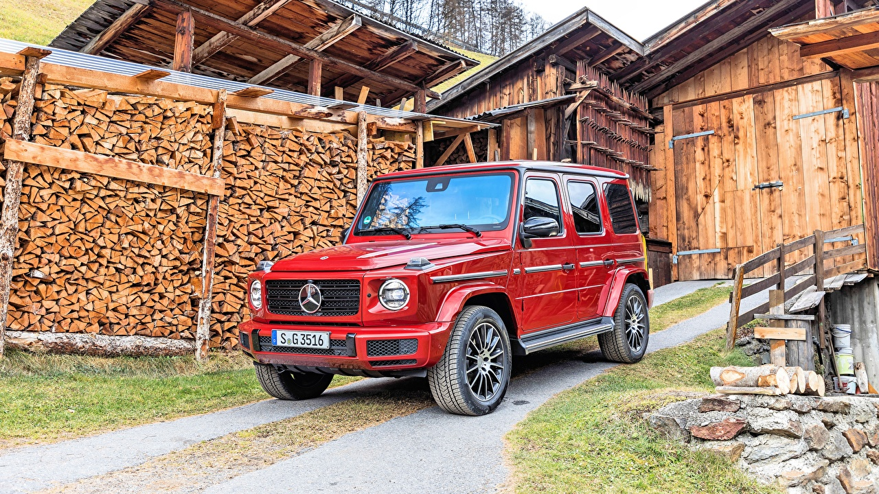 Обои для рабочего стола Mercedes-Benz гелентваген 2019 G 350 d AMG Line Красный машина Мерседес бенц G-класс красных красные красная авто машины автомобиль Автомобили