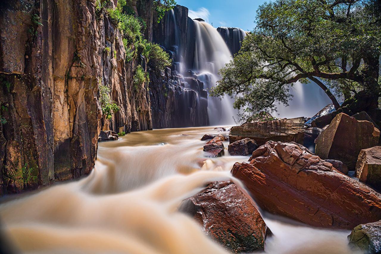Картинка Мексика Cascada de la Concepcion Aculco Природа Водопады Реки Камни река речка Камень