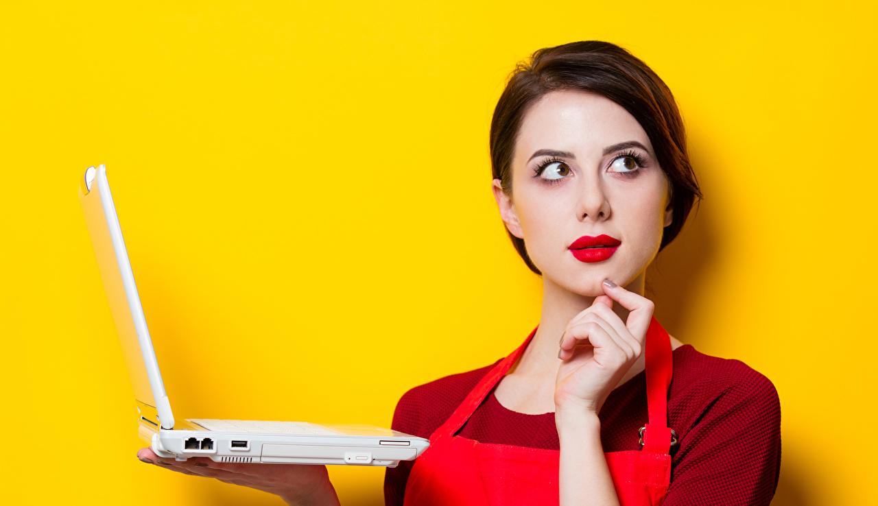Картинка ноутбук Шатенка Девушки рука Взгляд Цветной фон Ноутбуки шатенки девушка молодые женщины молодая женщина Руки смотрят смотрит