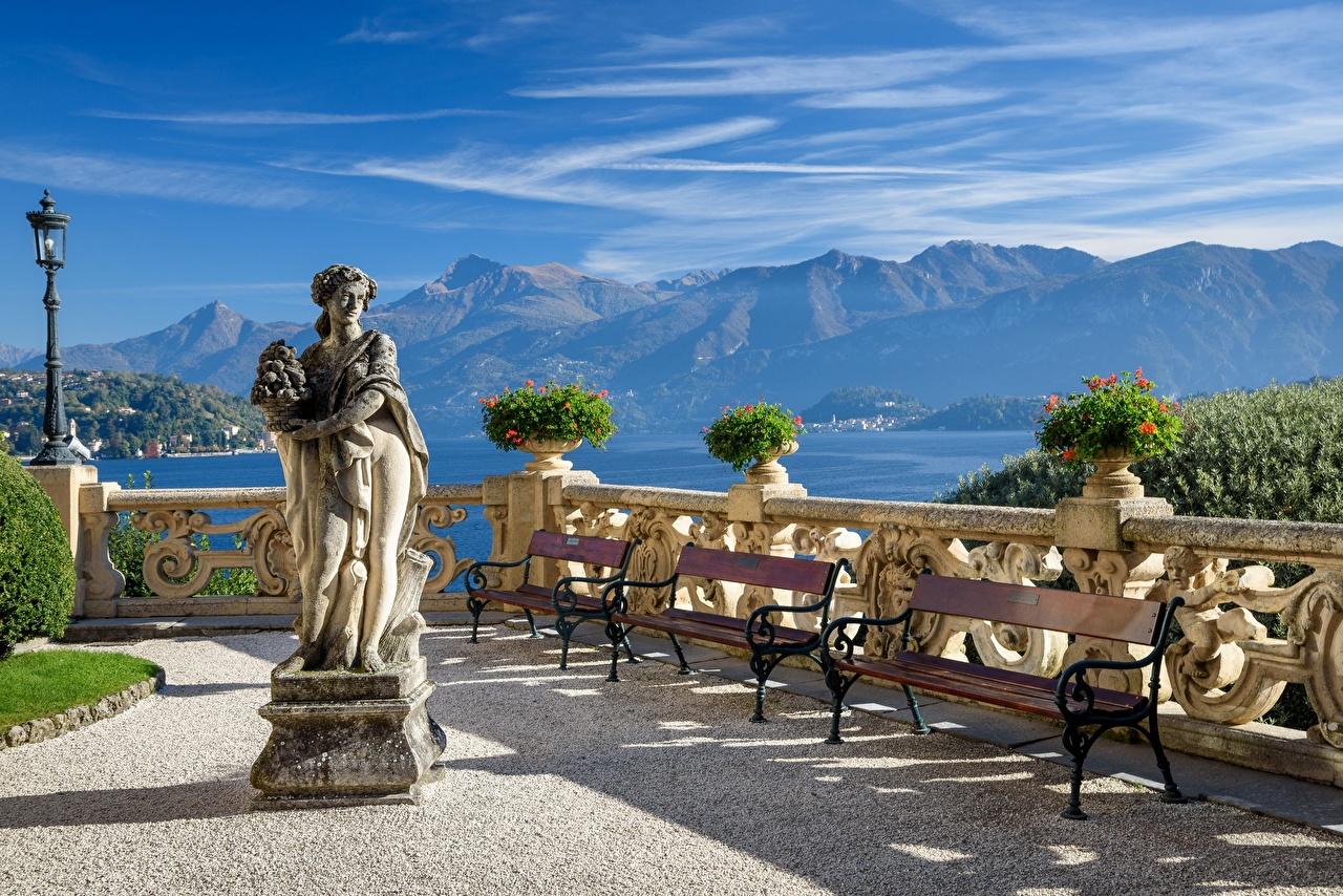 Обои для рабочего стола альп Италия Фонарь Lago di Como Горы Природа Озеро Скульптуры Альпы фонари гора скульптура